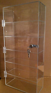 Acrylic Countertop Display Case Or Wall Mount 12 x 6 5 X 23 5 locking Show Case