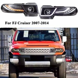 For 2007 2014 Toyota Fj Cruiser Led Halo Projector Headlights With Grille