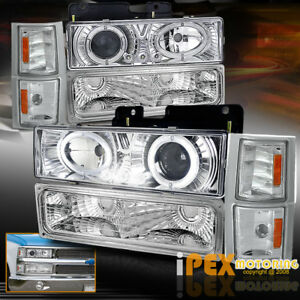 1994 1998 Chevy Silverado Tahoe Dual Halo Projector Led Headlight Signal Light