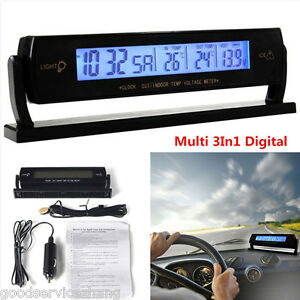 Multi 3in1 Digital Battery Alarm Time Thermometer Car Voltage Led Backlight