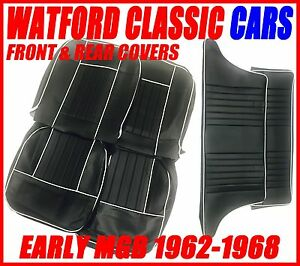 Mgb Gt Front And Rear Seat Covers 1962 1968 Black With White Piping