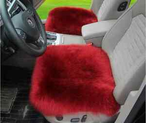 Sheepskin Car Seat Covers Genuine Long Wool Chair Cushion 18 18 Wine Red X1