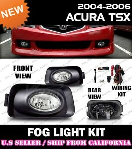 04 05 Acura Tsx Fog Light Driving Lamp Kit W switch Wiring clear