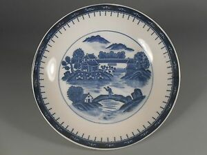 China Chinese Pottery Canton Blue White Plate W Landscape Decoration 20th C