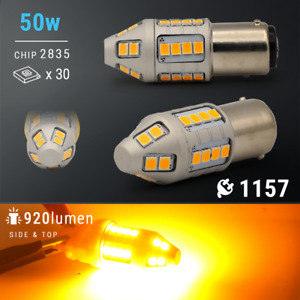 1157 Led Amber Yellow Front Rear Turn Signal Parking Drl High Power Light Bulbs