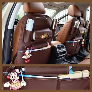 Brown Car Seat Back Bag Organizer Storage Cup Ipad Phone Holder Pocket Leather