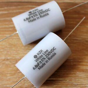 6 8uf 250v Matched Pair Russian Axial Pp Audio Capacitors For Speaker Crossovers