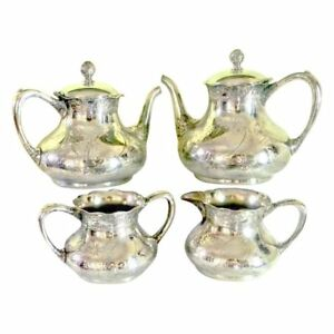 Victorian Antique Pairpoint Silver Plate Tea And Coffee Set Quadruple Plate 1850