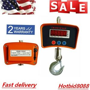 1100lbs Digital Crane Hanging Scale Heavy Duty Industrial W led Display 500kg Us