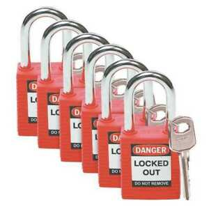Lockout Padlock kd red 1 3 4 h pk6 Brady 51339