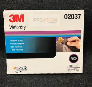 3m 02037 Imperial Wet Or Dry 500 Grit Sand Paper 50 Sheets 3m 2037