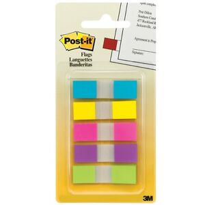 Post it Bright Colors Flags Assorted Colors 100 Ea pack Of 9