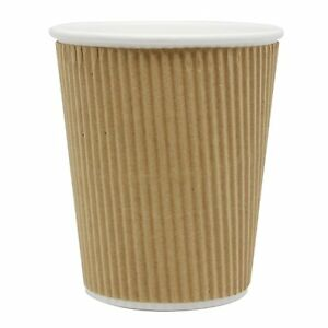 Safepro 8 Oz Kraft Ripple Paper Hot Tea Coffee Cups 200 piece Pack