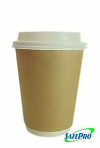 Safepro 8 Oz Eco Kraft Paper Coffee Cups With Cappuccino Lids 100 piece Pack