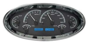 Dakota Digital Universal Oval Analog Gauges Black Alloy Blue Vhx 1017 K B