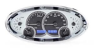 Dakota Digital Universal Oval Analog Gauges Silver Alloy Blue Vhx 1017 S B