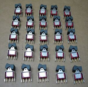 Lot Of 25 C k 7101 Rocker Switches Spdt 7101j1v3be Vertical Gold Contacts