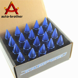 Blue Spiked Extended Tuner 60mm Aluminum Lug Nut Nuts Wheels Rims M12x1 5 20pcs