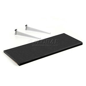 Slatwall Shelf 36 X 15 Black Plastic With 2 Brackets Package Quantity 4