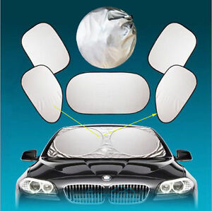 6pcs Auto Car Front Rear Window Foldable Visor Sun Shade Windshield Cover Block