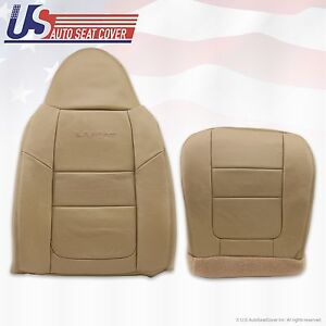2001 Ford F250 F350 Lariat Driver Bottom Top Leather Seat Covers Parchment Tan