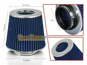 3 Short Ram Cold Air Intake Filter Round Cone Universal Blue For Infiniti
