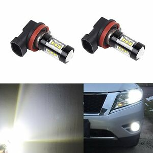 80w Bright H11 Led Fog Drl Lights Bulbs With Projector Lens 2pcs white