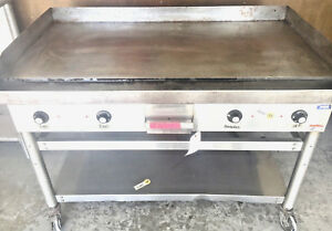 Hobart 48 Griddle Flat Top Grill Electric Castored Table 1 2 X thick Plate