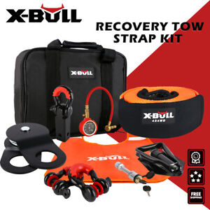 X Bull Recovery Winch Accessory Kit Snatch Pulley Block Bow Shackles Shovel