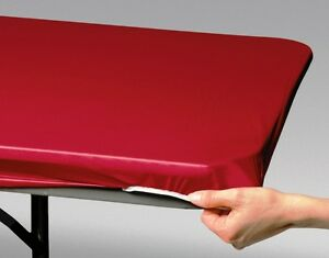 12 RED FAST COVER 8 FT.FITTED PLASTIC TABLECLOTHS TABLE COVER SAVE 50% PICNIC $41.70