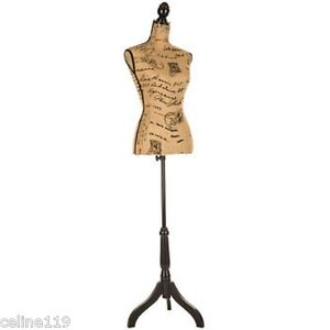 Printed Burlap Mannequin Over 5 Feet Tall shabby Chic Artistic Bedroom Decor New