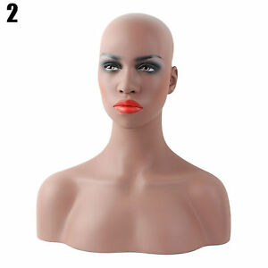 Realistic Mannequin Head Fiberglass Hat Glasses Mold Stand Torson Wig African 2