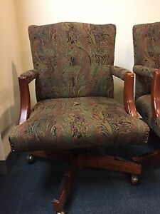 Executive Rolling Chairs paisley wood Set Of 2