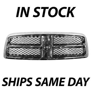 New Chrome Black Front Center Grille Grill For 2009 2012 Dodge Ram 1500 Truck