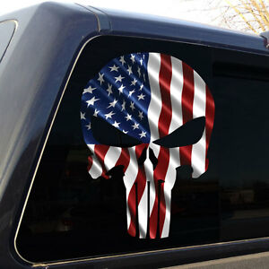 Punisher Skull American Flag 3 Vertical Military Decal Sticker Graphic