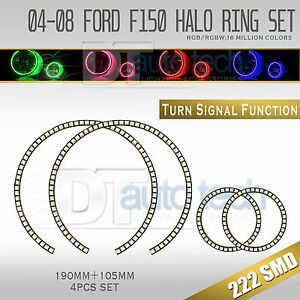 04 08 F 150 Bluetooth Angel Eyes Led Rgb Headlight Halo Ring turn Signal Set