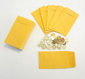 1000 New Kraft Coin Change Envelopes 5 Size 3 125 By 5 5 With Gummed Flap