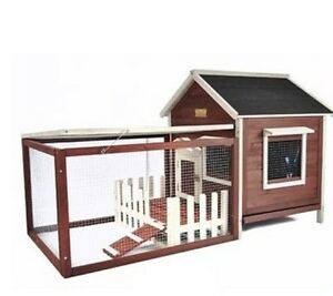 Outdoor Rabbit Hutch Fence Chicken Coop Small Animal Shelter Safe Kennel Cage
