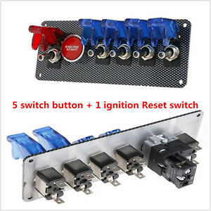 Universal 12v Racing Car Ignition Switch 4 Blue 1 Red Led Toggle Button Panel