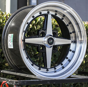 15x8 Rota Zero Plus Wheels 4x100 20mm Rims Aggressive Fits 4 Lug Civic Integra