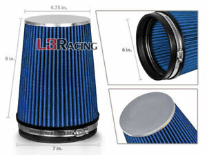 Blue 6 Inches 6 152mm Inlet Cold Air Intake Cone Long Truck Filter For Buick