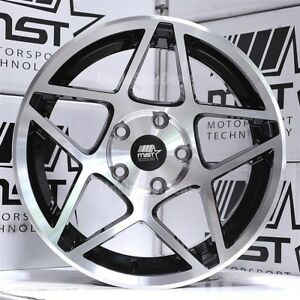 16x8 5x114 3 20 Mst Mt26 Machine Face Star 10 Spokes Black Barrel Tuner Wheels