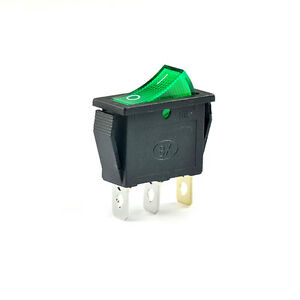 50pcs Green Rocker Switch With Light Copper Pin 250vac 16a 3pin