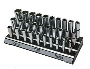 Socket Set Holder Tray Stand Black Garage Organizer Sae Standard 1 2 3 8 1 4