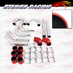 Red 3 Inches 76mm Turbo Supercharger Intercooler Polish Pipe Kit For Nissan