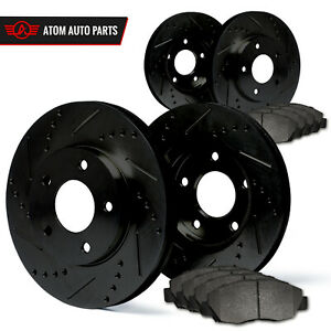 1998 1999 2000 Ford Contour Non Svt Black Slot Drill Rotor Metallic Pads F R