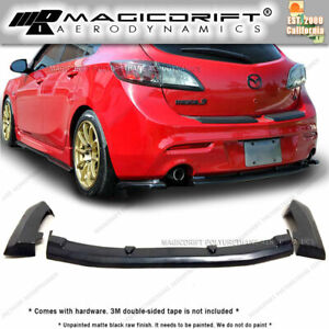 Ms Style Rear Diffuser Lip Dual Exhaust For 10 13 Mazda 3 5dr Black Urethane
