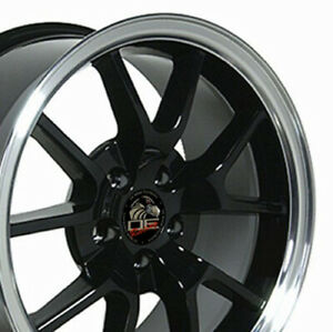 18 Black Fr500 Wheels Rims Fit Mustang Gt Cp