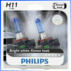 Philips Genuine H11 12362cvb2 Crystalvision Ultra Upgrade Headlight Bulb 2 Pack