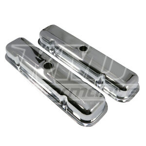59 81 Pontiac V8 Short Chrome Steel Valve Covers 301 350 389 400 421 428 455